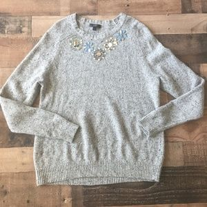 j. Crew Gray Jeweled Donegal Sweater Lambswool Lg